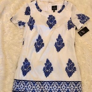 Adriana Pappel white tunic shift dress
